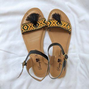 Penny Loves Kenny Beaded Tassel Sandals, size 10